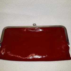 HOBO Red Patent Leather Waller Purse Clutch